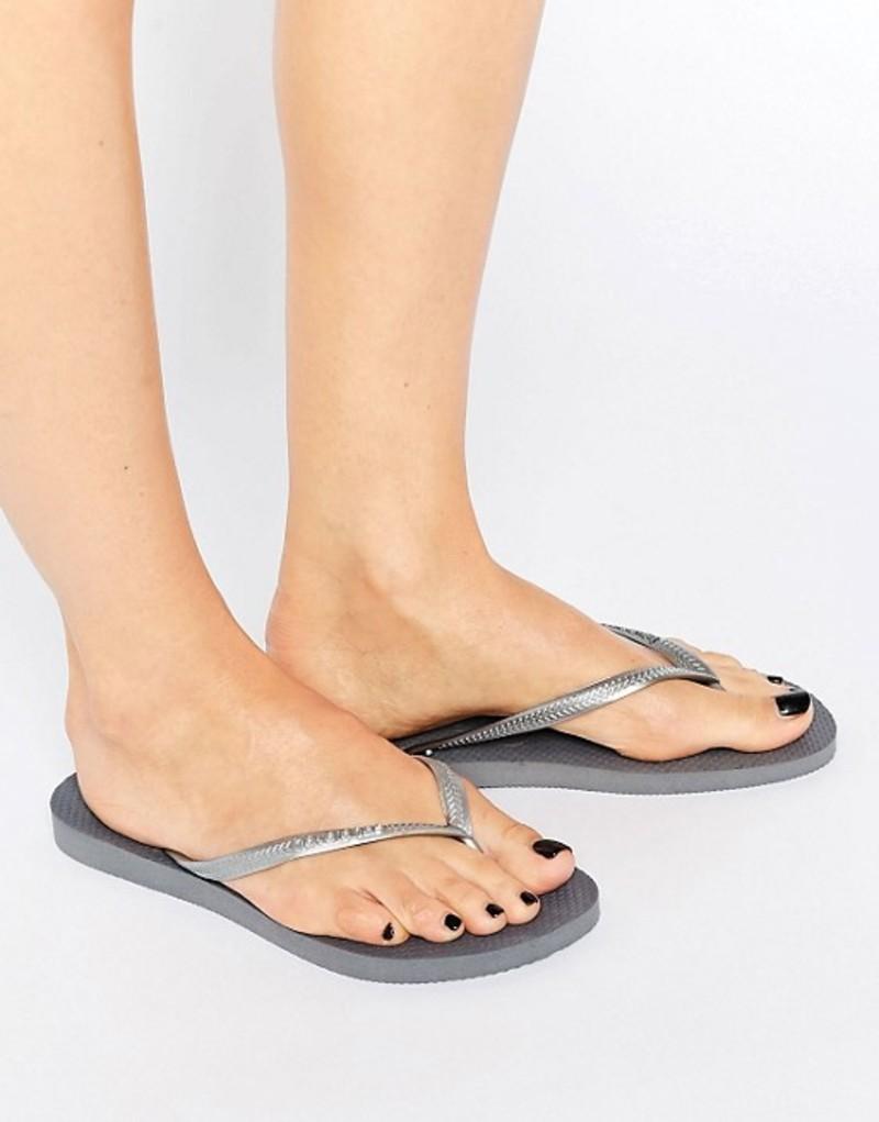ハワイアナス レディース サンダル シューズ Havaianas Silver Slim Flip Flops 5178