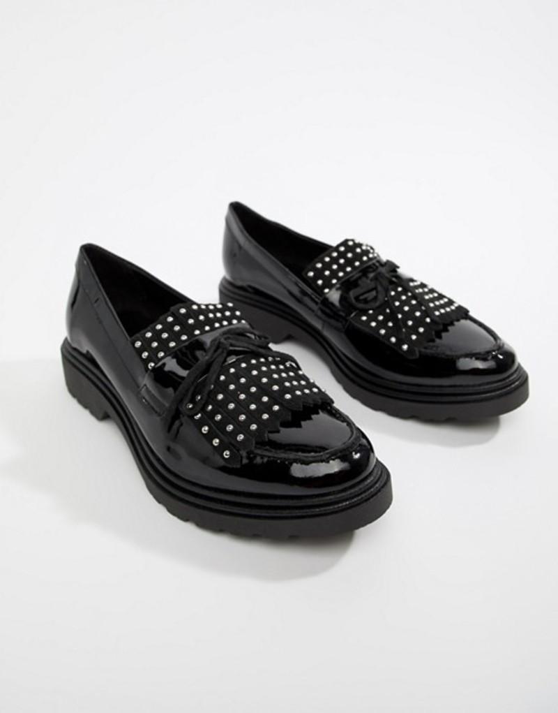 アルド レディース パンプス シューズ ALDO Nydiradda Leather Stud Chunky Loafers Black patent leather