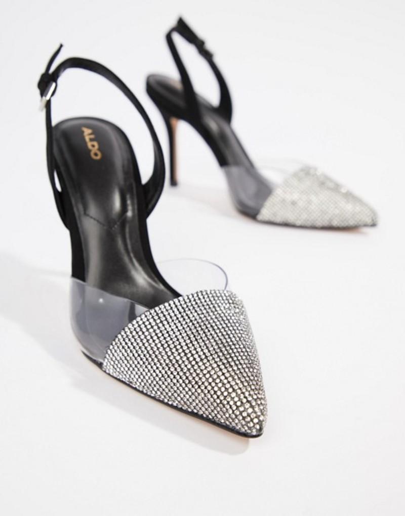 アルド レディース ヒール シューズ ALDO Sywiel black embellished pointed toe slingback heels Black leather