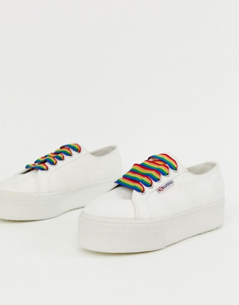 スペルガ レディース スニーカー シューズ Superga 2790 exclusive white chunky sneakers with rainbow laces White rainbow