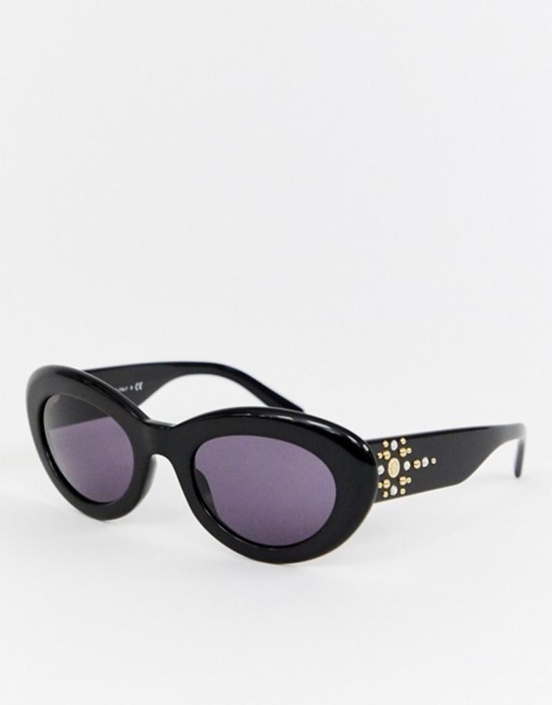 ヴェルサーチ メンズ サングラス・アイウェア アクセサリー Versace 0VE4355B boxy oval sunglasses Black