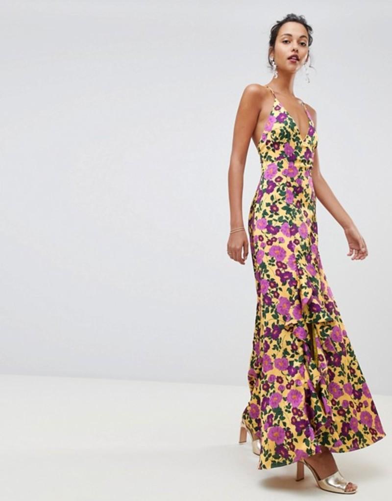キープセイク レディース ワンピース トップス Keepsake Infinity strappy gown in floral print Golden floral