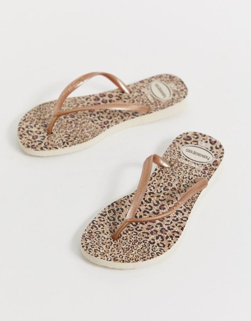 ハワイアナス レディース サンダル シューズ Havaianas slim flip flops in leopard print Beige/rose gold