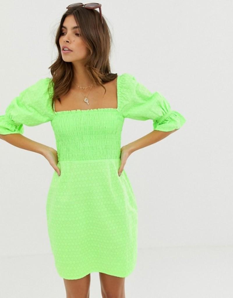 エイソス レディース ワンピース トップス ASOS DESIGN shirred off shoulder mini sundress in neon broderie Green neon