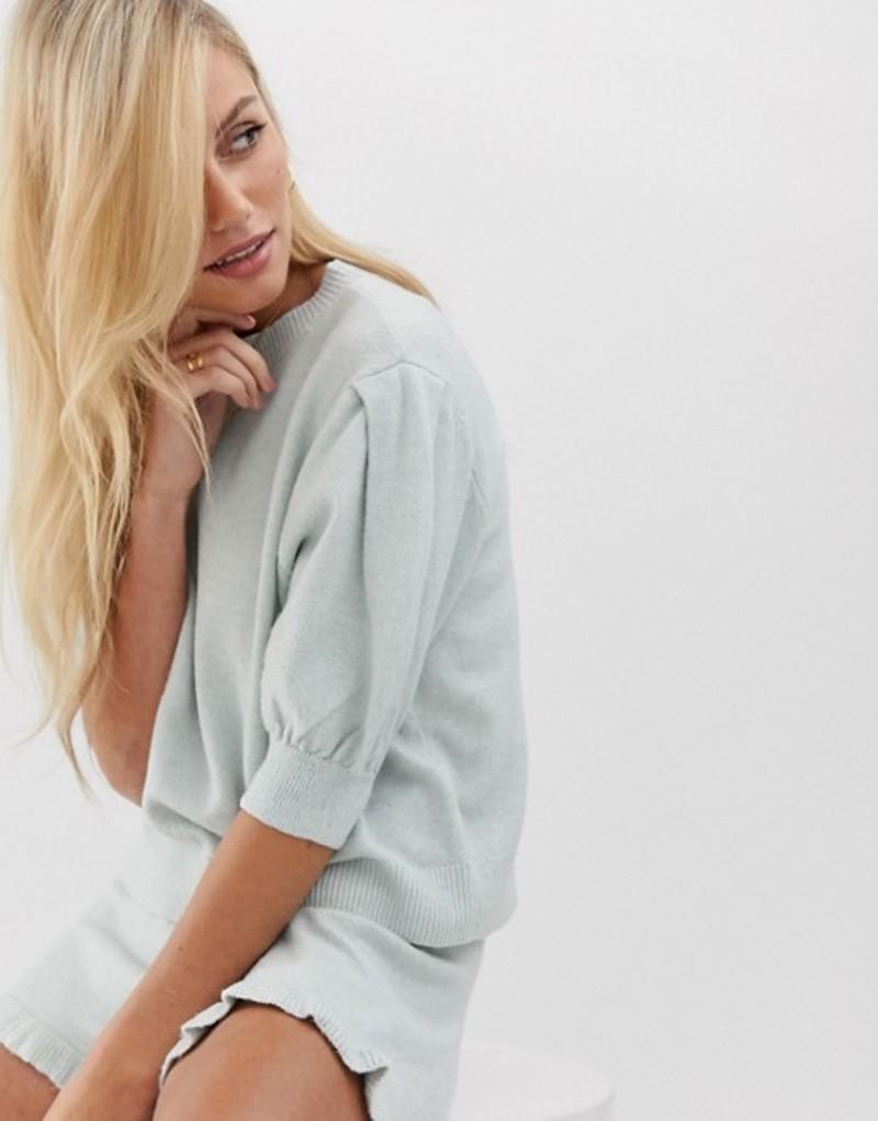 ミチャラウンジ レディース ニット・セーター アウター Micha Lounge sweater with puff sleeve in fine knit two-piece Pastel blue