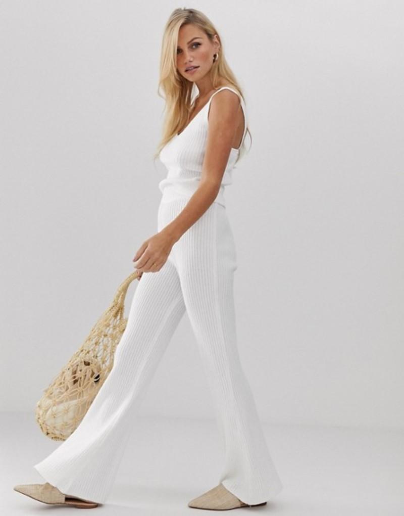 ミチャラウンジ レディース カジュアルパンツ ボトムス Micha Lounge high waist flare pants in rib knit two-piece Off white