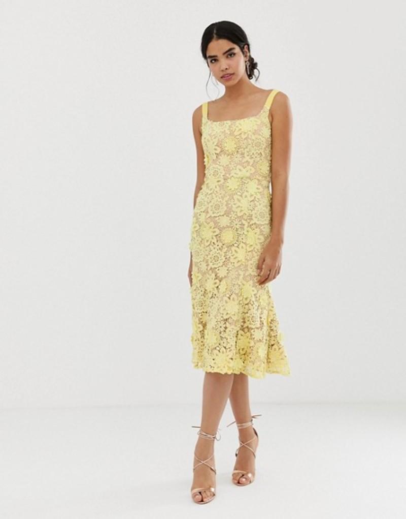 ジャーロ レディース ワンピース トップス Jarlo square neck all over lace embroidered midi dress in yellow Lemon