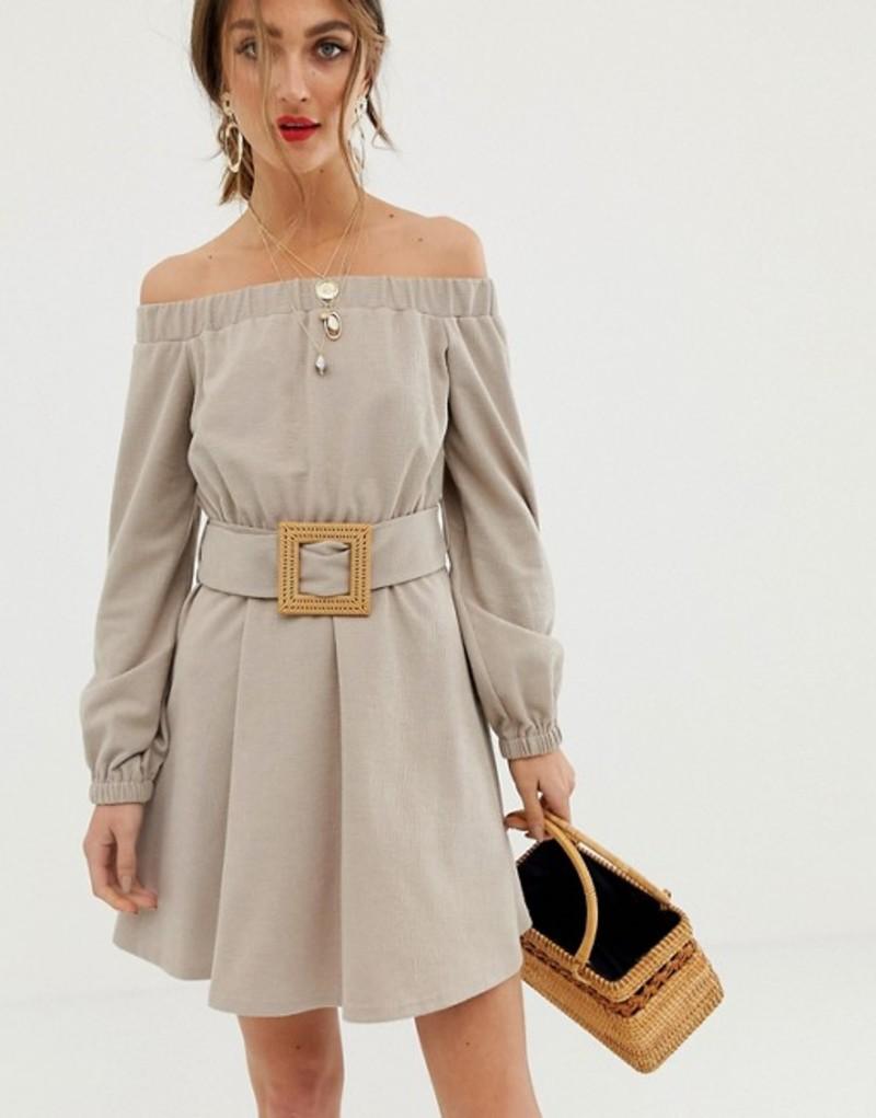 エイソス レディース ワンピース トップス ASOS DESIGN off shoulder textured mini dress with belt Taupe