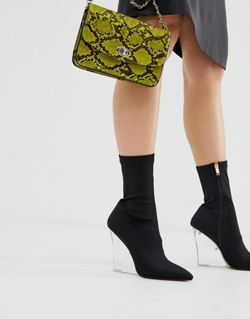 パブリックデザイア レディース ブーツ・レインブーツ シューズ Public Desire Glance clear wedge boots Black