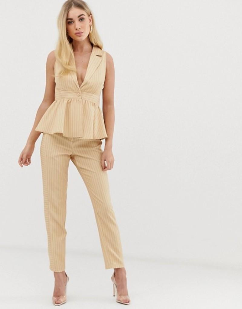 ユニークトゥエンティワン レディース カジュアルパンツ ボトムス UNIQUE21 slim pants with contrast pinstripe two-piece Brown pinstripe