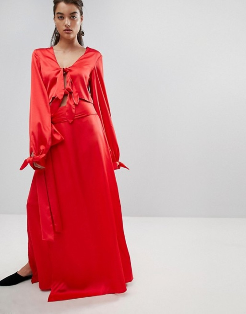 スタイルマフィア レディース スカート ボトムス Stylemafia Split Maxi Skirt Two-Piece Red