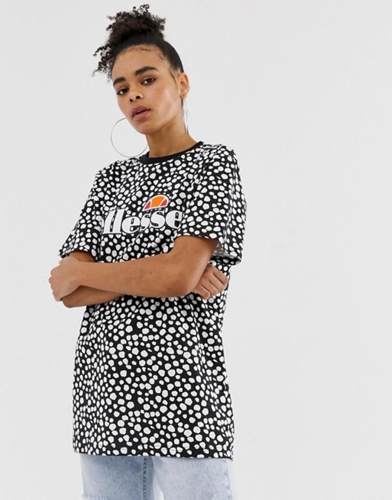 エレッセ レディース Tシャツ トップス Ellesse relaxed t-shirt with front logo in polka dot Black and white