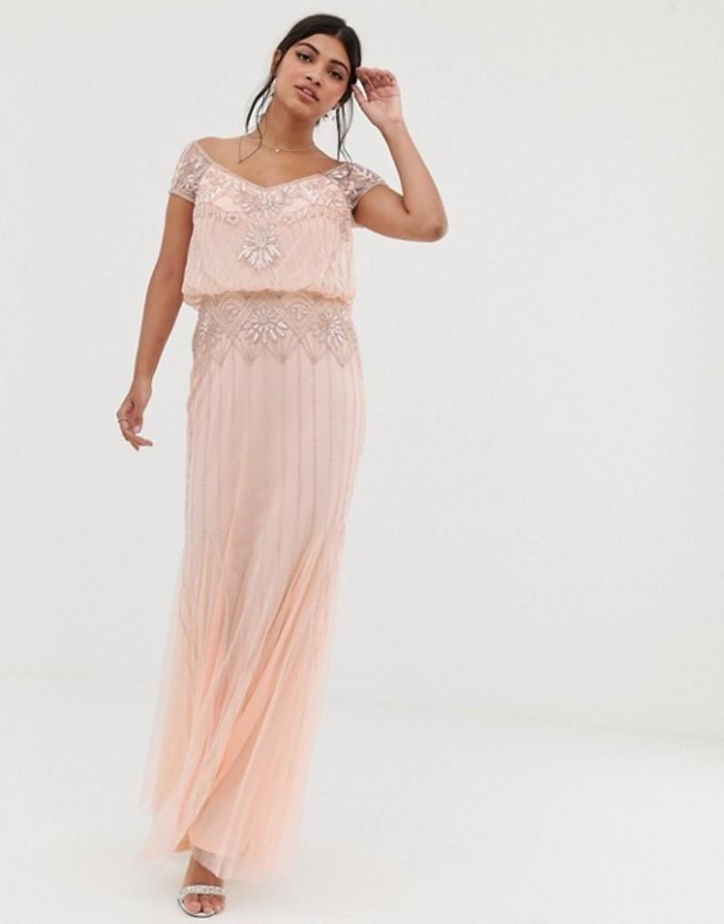 アメリアローズ レディース ワンピース トップス Amelia Rose baroque embellished cap sleeve maxi dress in soft peach Barely peach