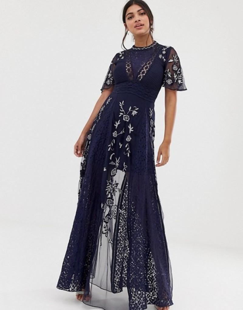 アメリアローズ レディース ワンピース トップス Amelia Rose embroidered lace front maxi dress with panel inserts in navy Navy