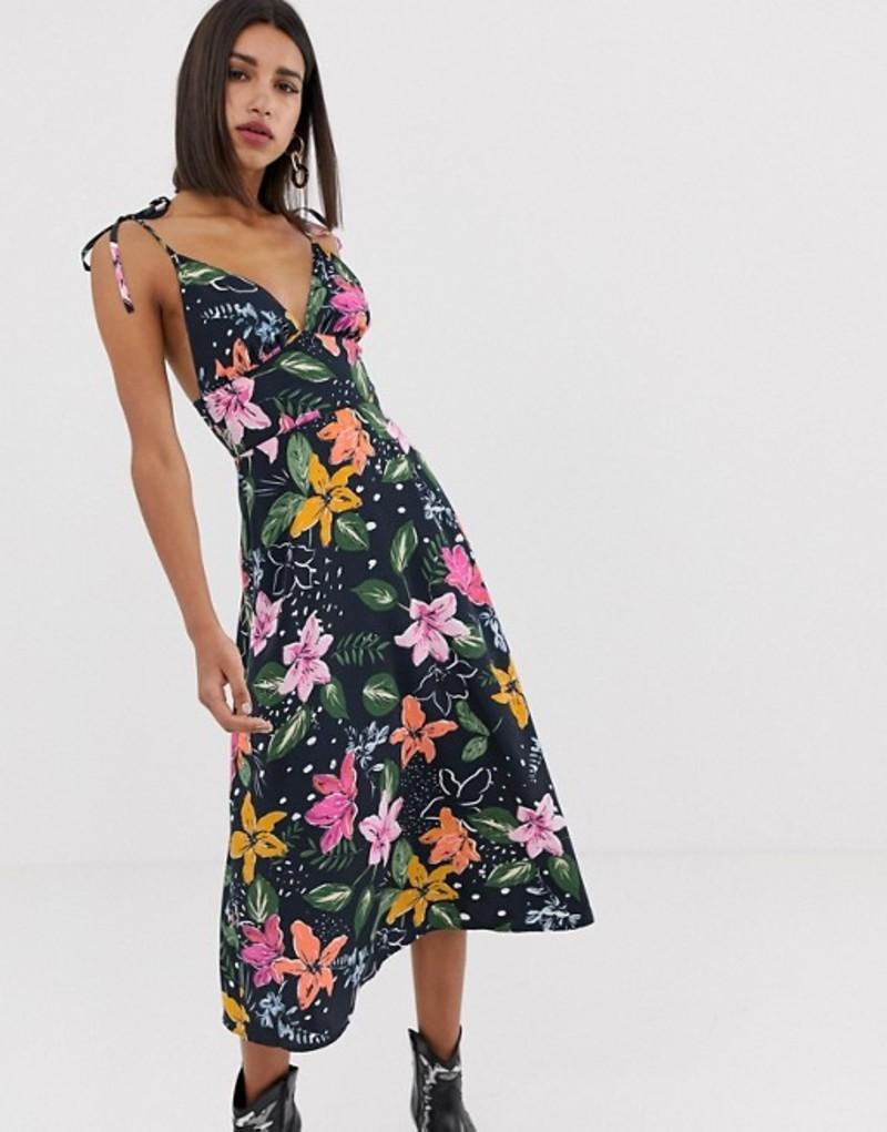 ネオンローズ レディース ワンピース トップス Neon Rose midi cami dress with tie shoulders in tropical floral print Navy tropical floral