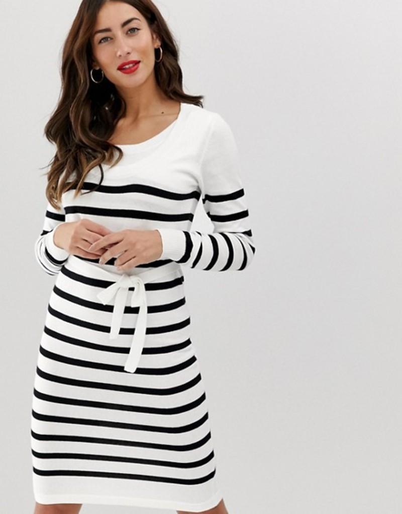 ママライシアス レディース ワンピース トップス Mamalicious nursing stripe knitted dress Snow white