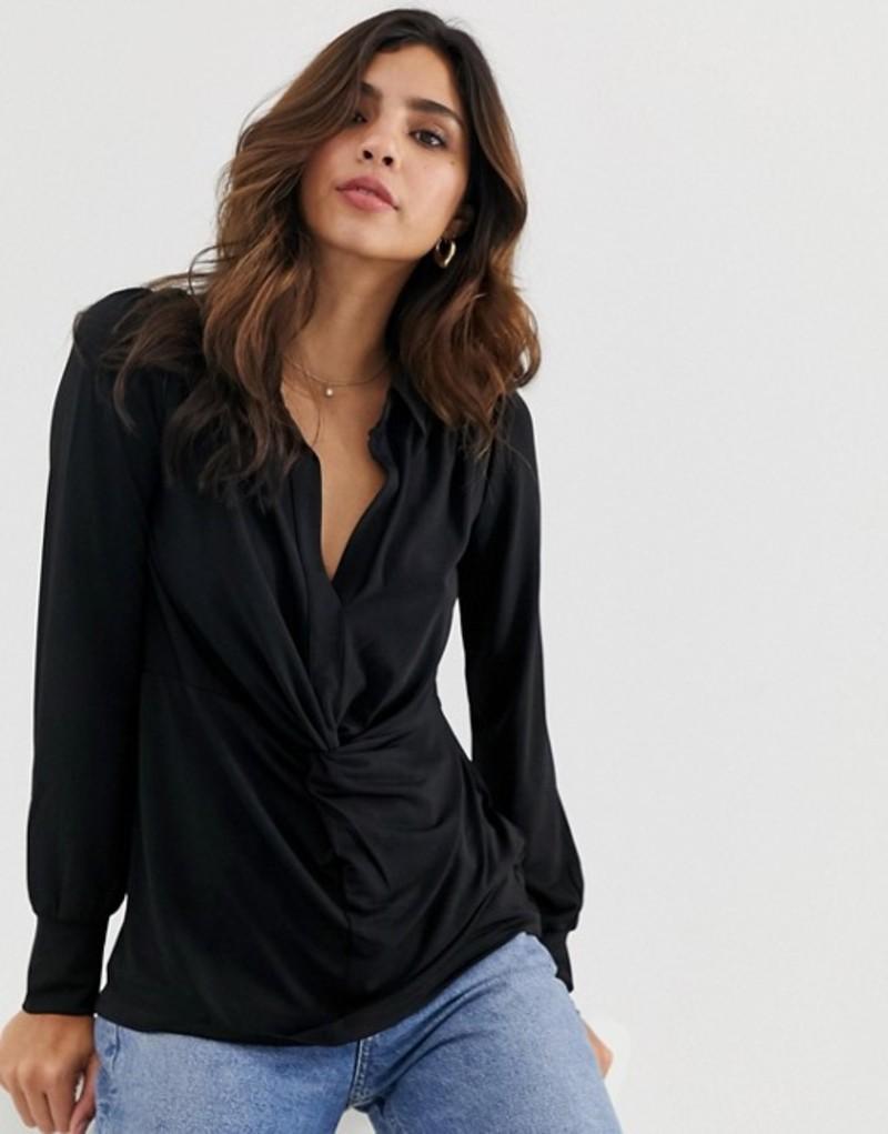 オアシス レディース シャツ トップス Oasis shirt with twist front in black Black