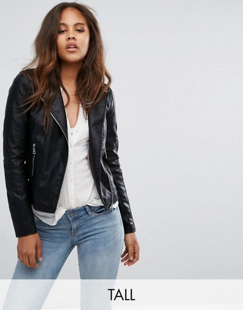 ベロモーダ レディース ジャケット・ブルゾン アウター Vero Moda Tall Faux Leather Biker Jacket Black