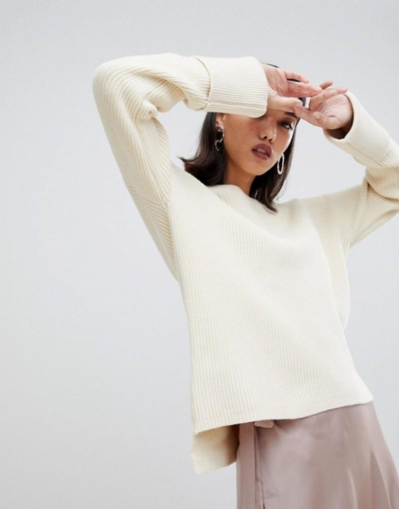 セレクティッド レディース ニット・セーター アウター Selected Femme boat neck wide cuff sweater Beige