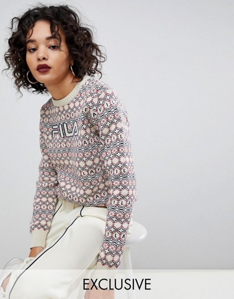 フィラ レディース ニット・セーター アウター Fila christmas sweater with front logo in knitted fairisle Multi