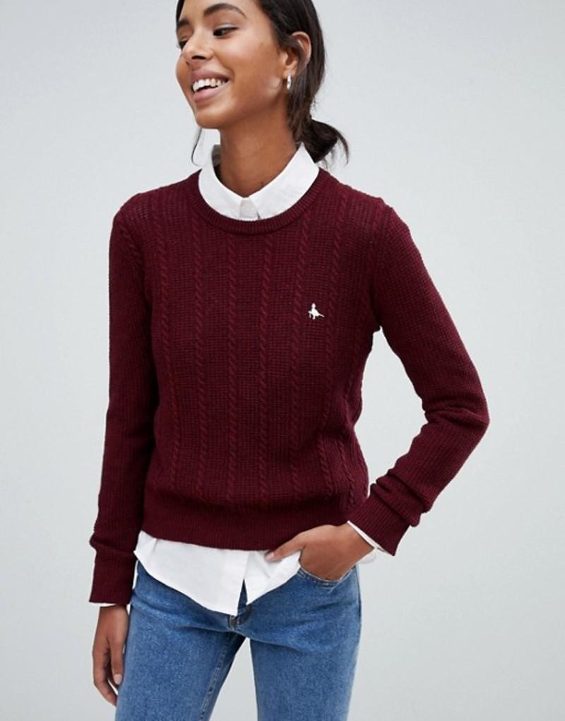 ジャック ウィルス レディース ニット・セーター アウター Jack Wills tinsbury cable knit sweater Damson
