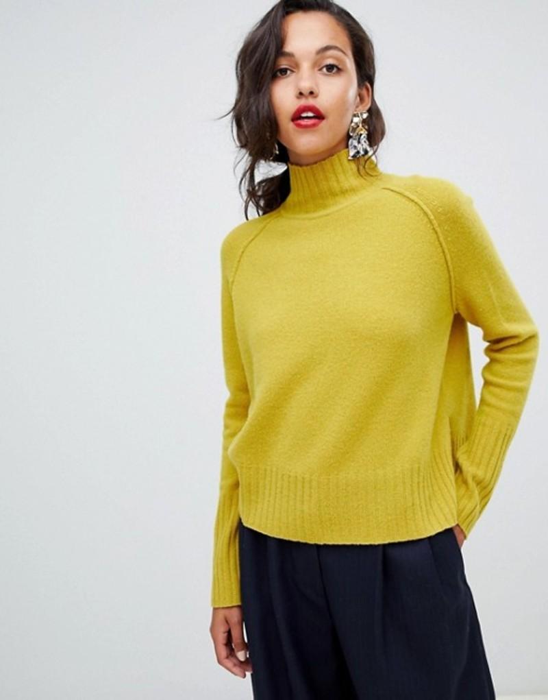ホイッスルズ レディース ニット・セーター アウター Whistles funnel neck sweater in yellow Yellow