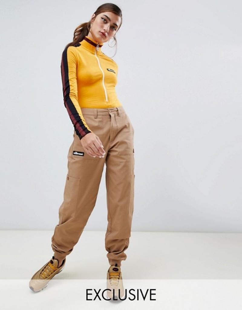 エレッセ レディース カジュアルパンツ ボトムス Ellesse combat pants with pockets and side logo Beige