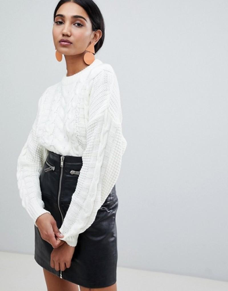 ウエアハウス レディース ニット・セーター アウター Warehouse cable knit sweater in ivory Ivory