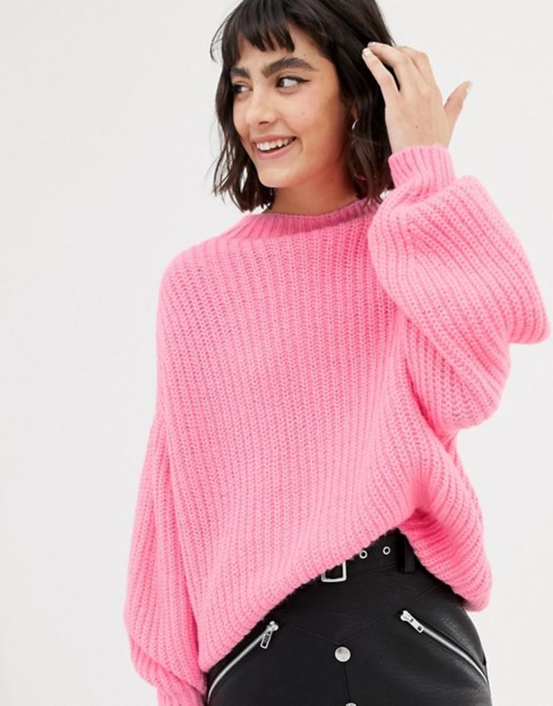 マンゴ レディース ニット・セーター アウター Mango knitted sweater in neon pink Pink