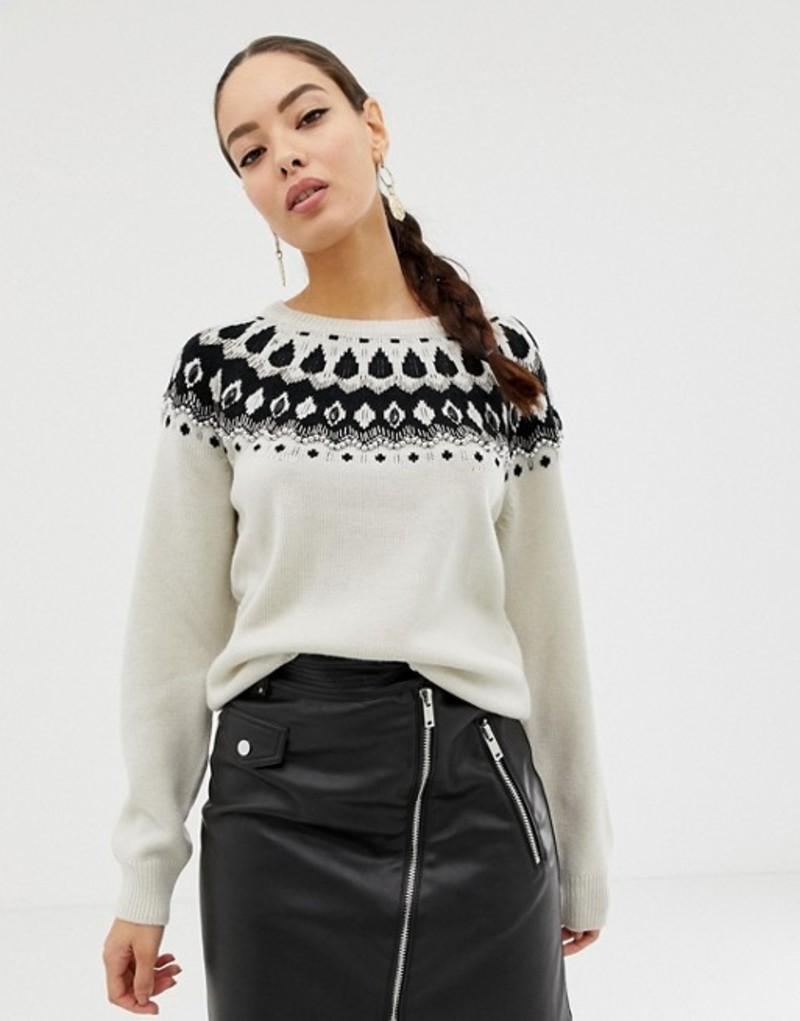フレンチコネクション レディース ニット・セーター アウター French Connection embellished fairisle sweater Classic cream multi