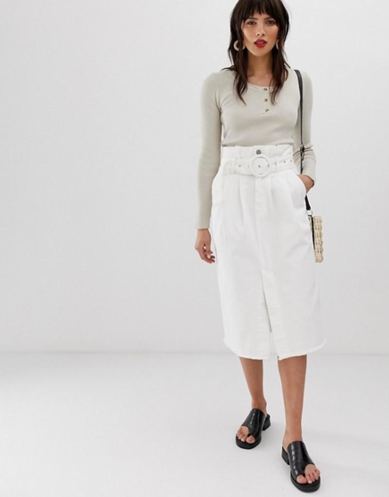 ネオンローズ レディース スカート ボトムス Neon Rose belted midi skirt with frayed hem in denim White denim