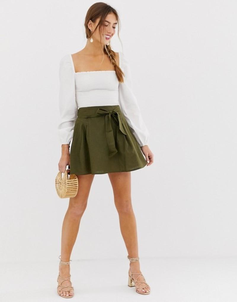 エイソス レディース スカート ボトムス ASOS DESIGN tie front mini skirt in cotton Green