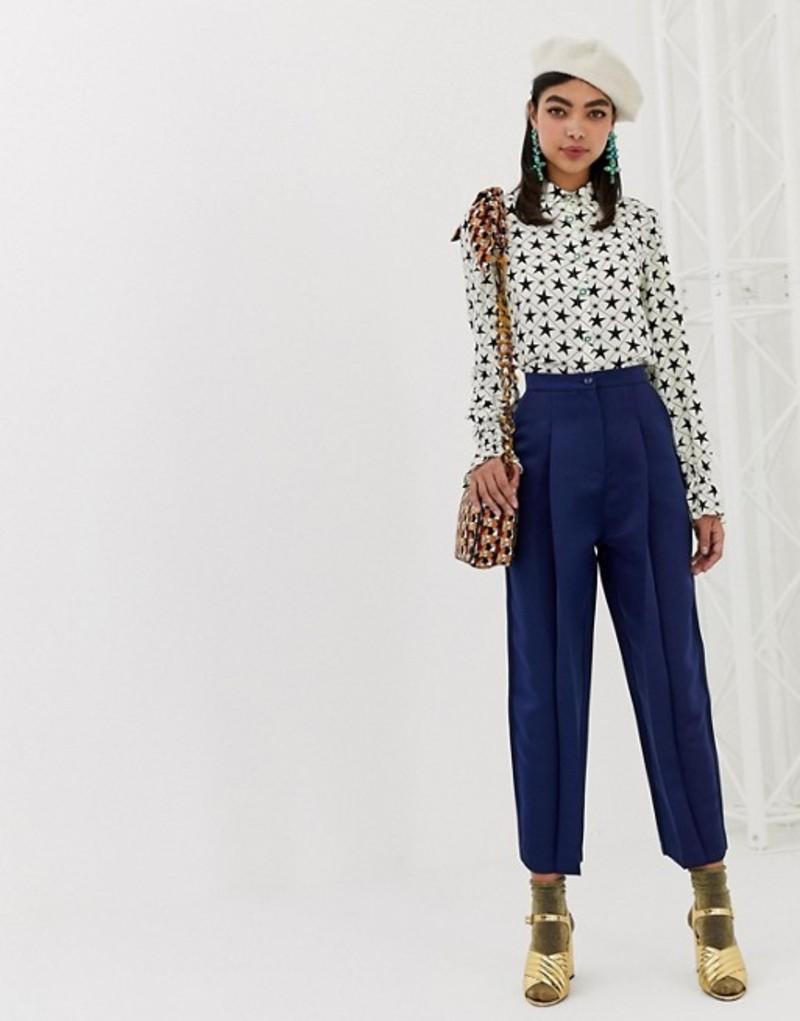 シスタージュン レディース カジュアルパンツ ボトムス Sister Jane tailored pants in luxe satin Navy satin