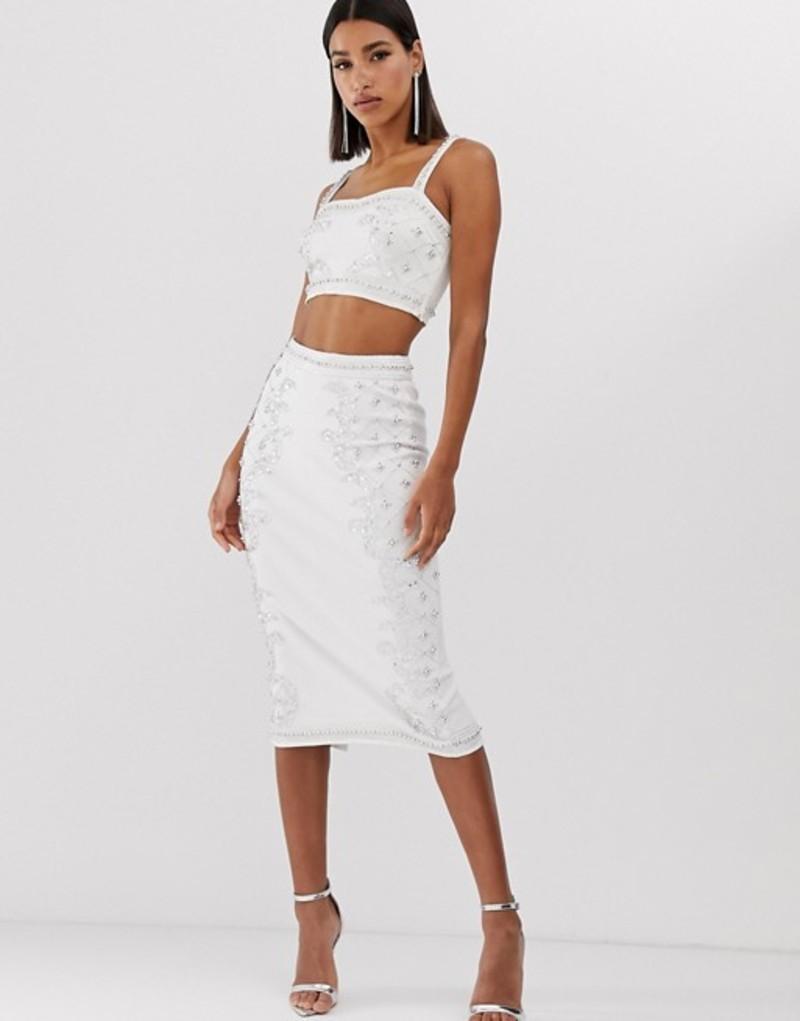 スターレット レディース スカート ボトムス Starlet embellished pencil skirt in white and silver White base/silver