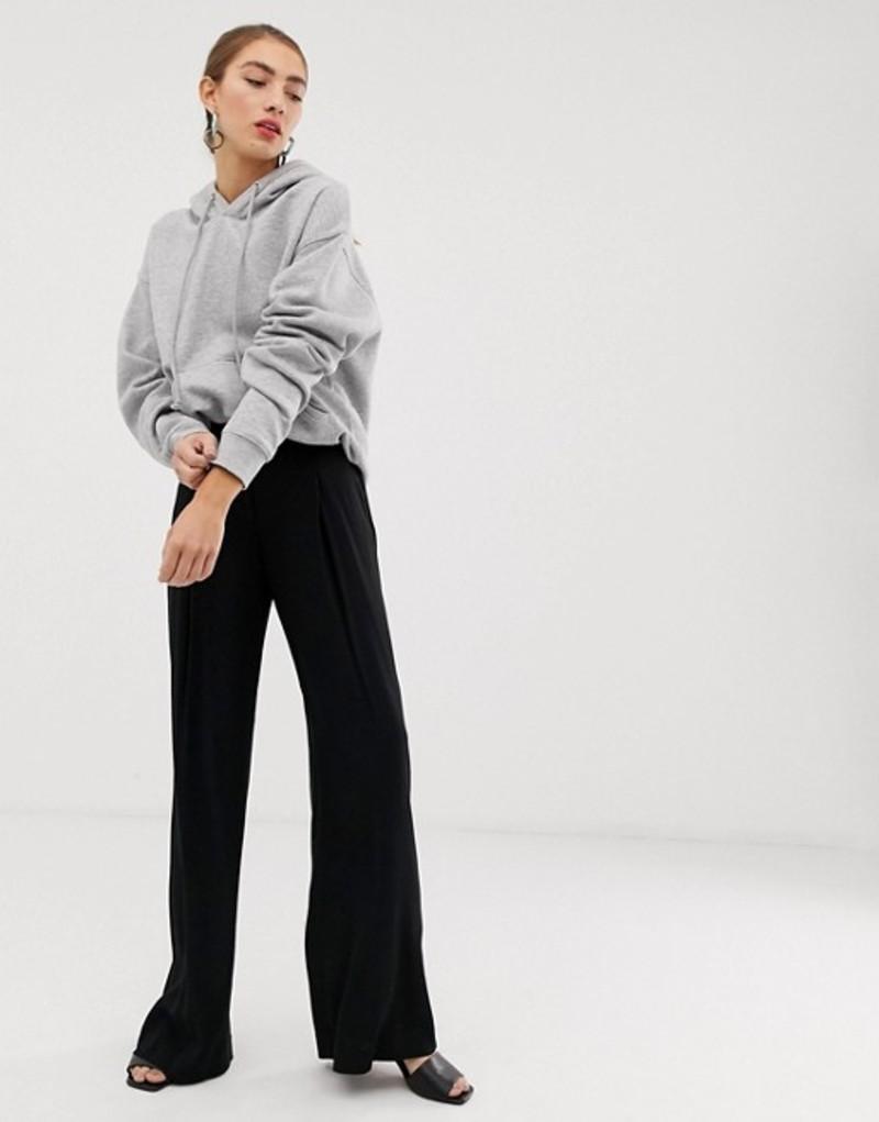 マンゴ レディース カジュアルパンツ ボトムス Mango wide leg pants in Black Black