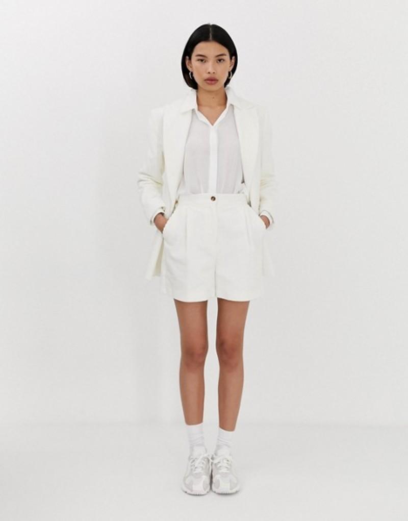 エイソス レディース ハーフパンツ・ショーツ ボトムス ASOS DESIGN cream cord suit shorts Cream