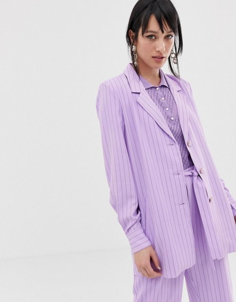 ゲタス レディース ジャケット・ブルゾン アウター Gestuz Tara pinstripe blazer Sheer lilac