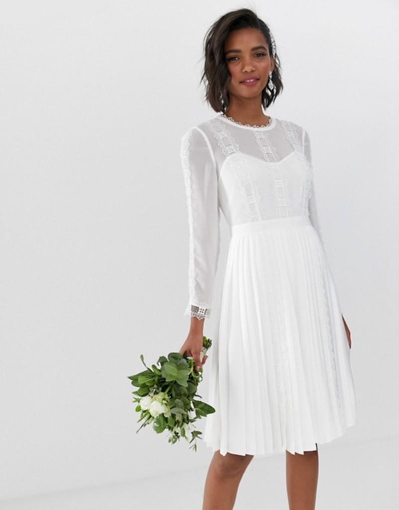 テッドベーカー レディース ワンピース トップス Ted Baker bridal lace trim pleated skirt dress Ivory