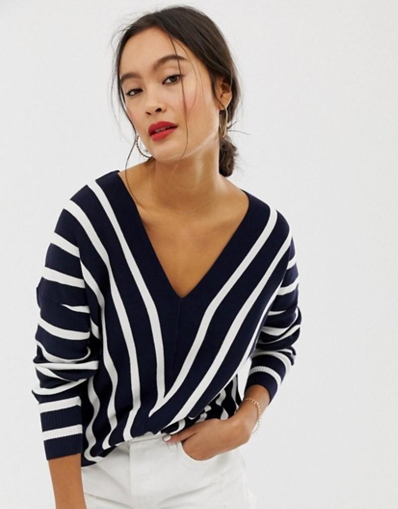 オンリー レディース ニット・セーター アウター Only vertical stripe wide v neck sweater Multi