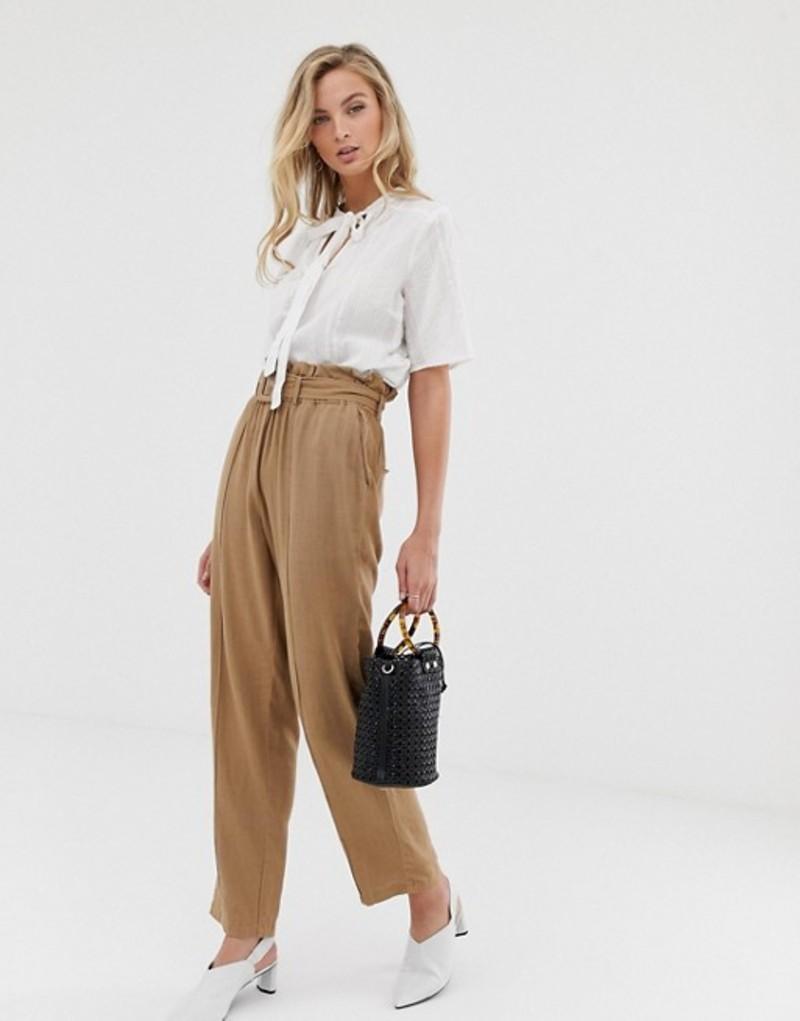ヴィラ レディース カジュアルパンツ ボトムス Vila linen mix paperbag pants Tan