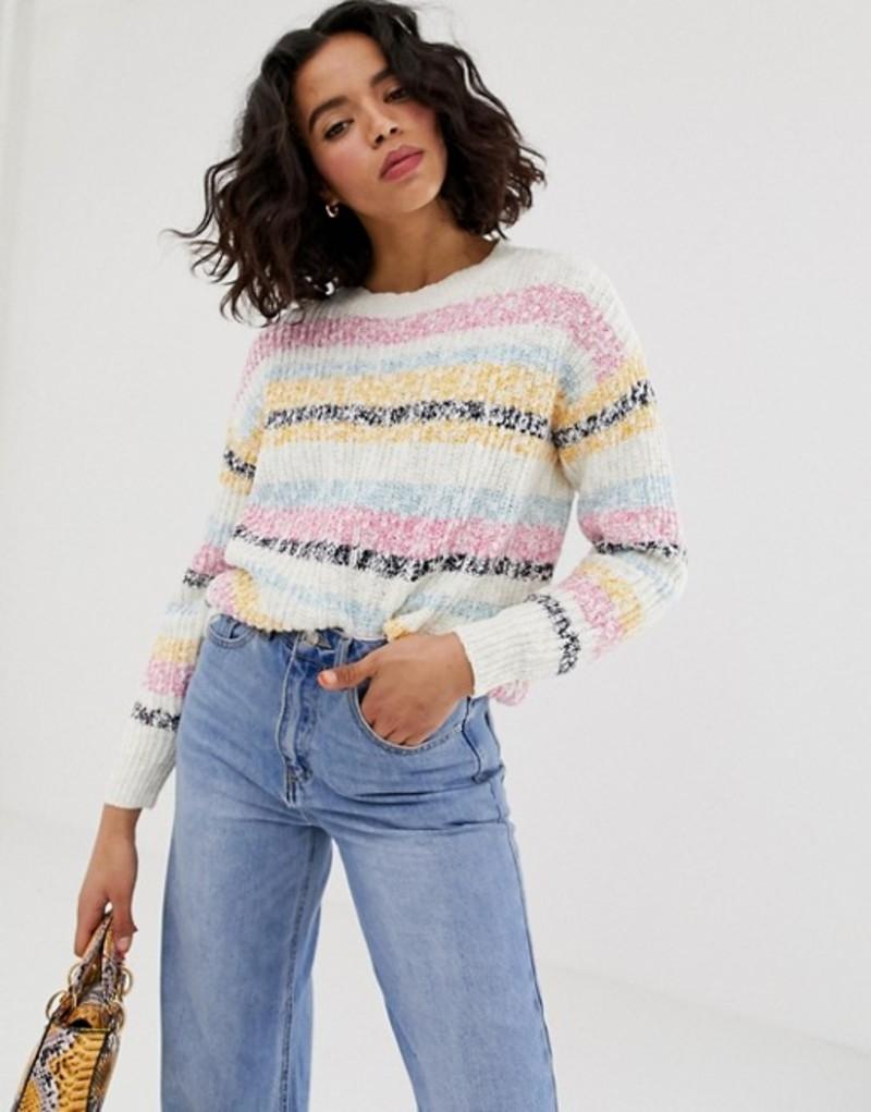 ヴェロモーダ レディース ニット・セーター アウター Vero Moda speckle stripe sweater Snow white