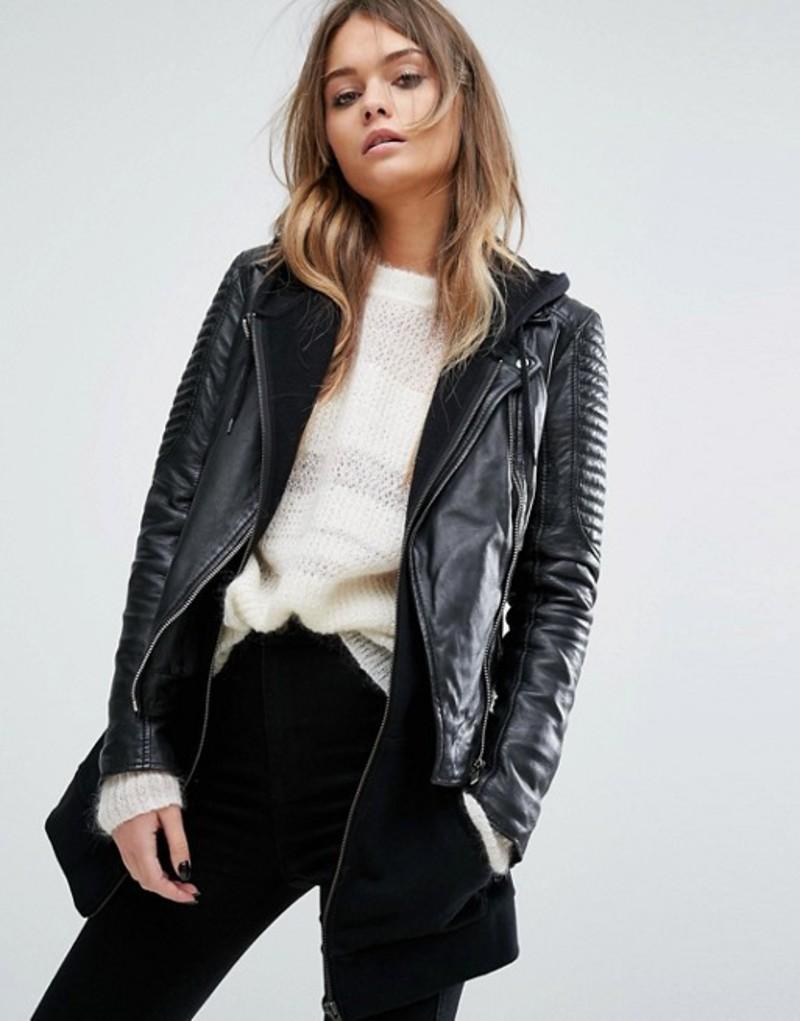 グースクラフト レディース ジャケット・ブルゾン アウター Goosecraft bottom zip detail biker jacket Black