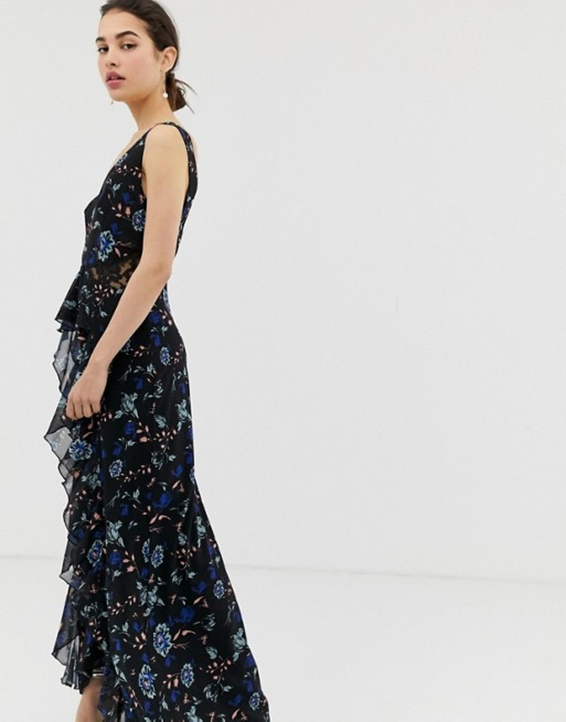 リトルミストレス レディース ワンピース トップス Little Mistress floral lace plunge front maxi dress in black multi Multi
