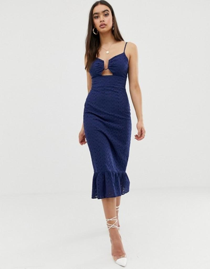 ファッションモンキー レディース ワンピース トップス Fashion Union ring front structured midi dress in broderie Dark blue