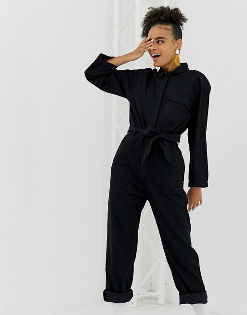 モンキ レディース ワンピース トップス Monki organic cotton denim boilersuit in black Black