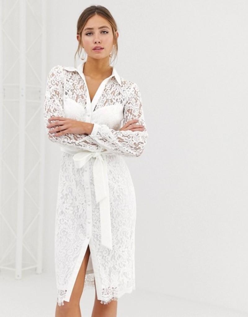 ペーパードールズ レディース ワンピース トップス Paper Dolls lace shirt dress with tie waist in white White