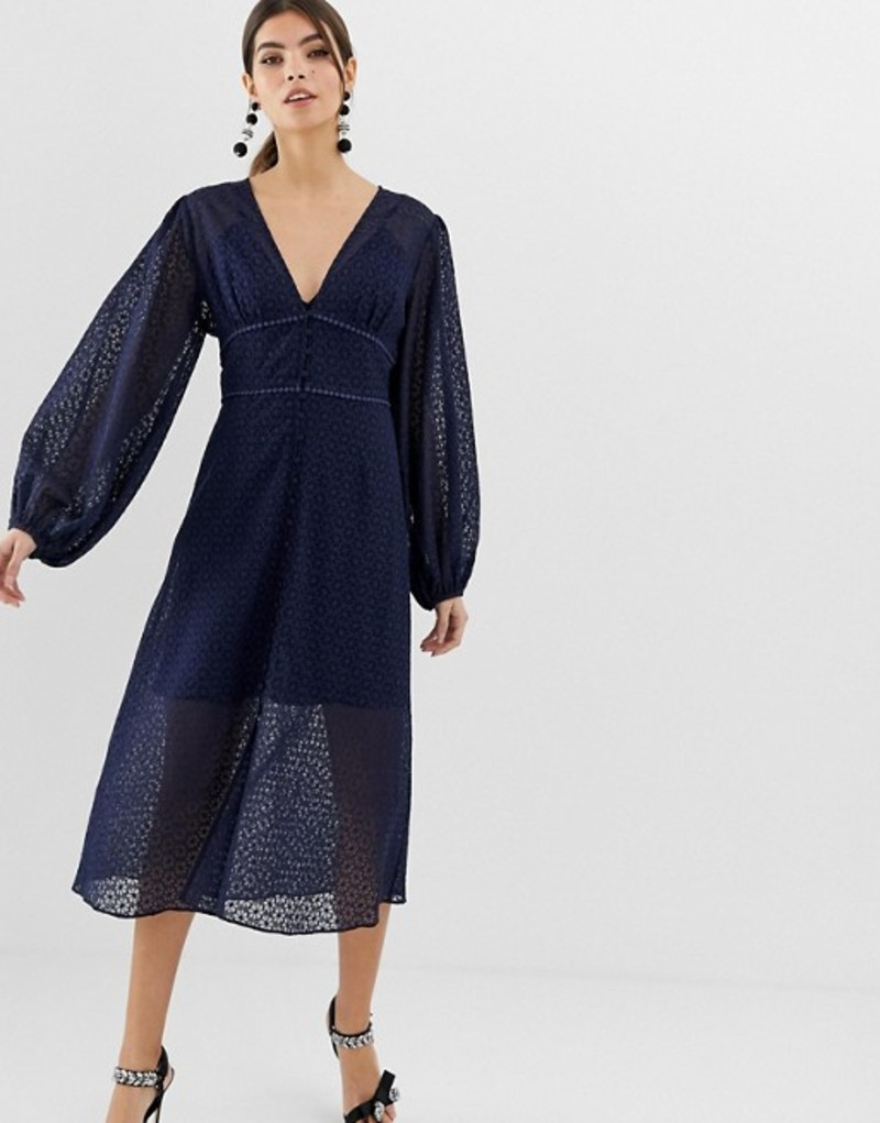 キープセイク レディース ワンピース トップス Keepsake Trouble lace midi dress with volume sleeve Navy