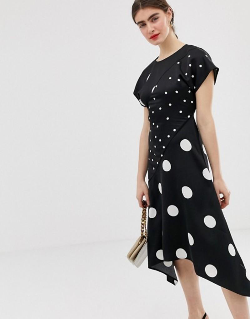 ウエアハウス レディース ワンピース トップス Warehouse midi dress with hanky hem in polka Black