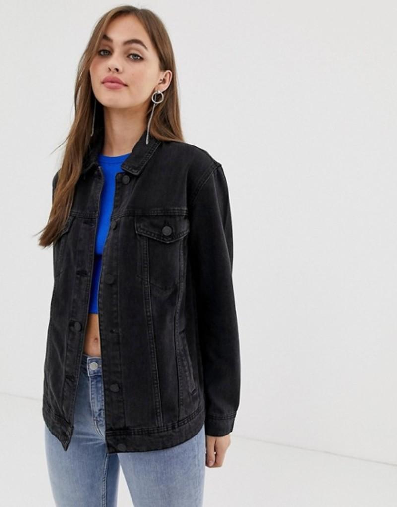 ノイジーメイ レディース ジャケット・ブルゾン アウター Noisy May oversized denim jacket in black Black