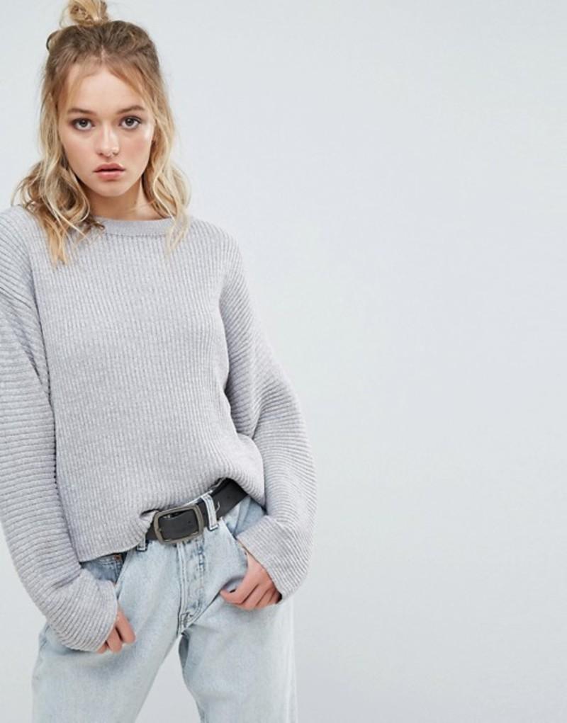 チープマンデー レディース ニット・セーター アウター Cheap Monday Ribbed Cropped Knit Grey
